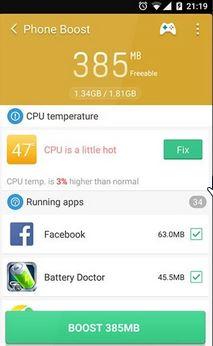 aplicaciones para acelerar el telefono 4 (clean master)